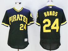 mens majestic pittsburgh pirates #24 barry bonds black pullover Flex Base jersey