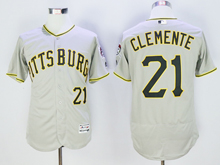 mens majestic pittsburgh pirates #21 roberto clemente gray Flex Base jersey
