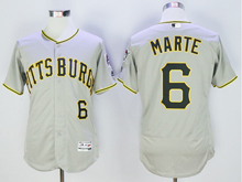 mens majestic pittsburgh pirates #6 starling marte gray Flex Base jersey
