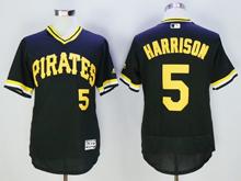 mens majestic pittsburgh pirates #5 josh harrison black pullove Flex Base jersey