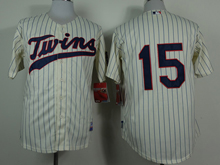 Mens mlb minnesota twins #15 perkins cream (blue stripe) Jersey
