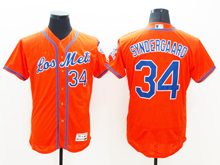 mens majestic new york mets #34 noah syndergaard red Flex Base jersey