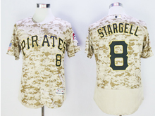 Mens Majestic Pittsburgh Pirates #8 Willie Stargell Camo Painting Flex Base Jersey