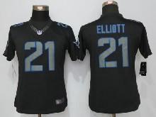 Women  Nfl Dallas Cowboys #21 Ezekiel Elliott Black Impact Limited Jerseys