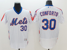 mens majestic new york mets #30 michael conforto white stripe pullover Flex Base jersey
