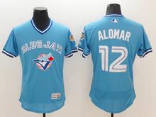 mens majestic toronto blue jays #12 roberto alomar light blue pullover Flex Base jersey