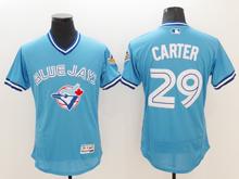 mens majestic toronto blue jays #29 joe carter light blue pullover Flex Base jersey