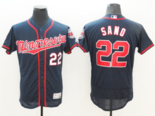 mens majestic minnesota twins #22 miguel sano dark blue Flex Base (minnesota) jersey
