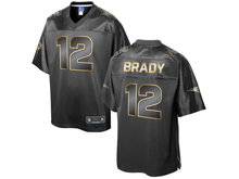 Mens Nfl New England Patriots #12 Tom Brady Pro Line Black Gold Collection Jersey