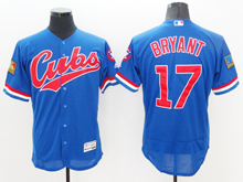 mens majestic chicago cubs #17 kris bryant 1994 turn back blue Flex Base jersey