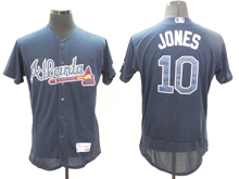 mens majestic atlanta braves #10 chipper jones navy Flex Base jersey