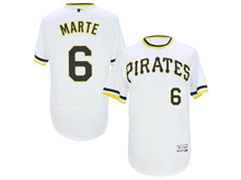 mens majestic pittsburgh pirates #6 starling marte white pullove Flex Base jersey