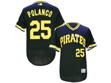 mens majestic pittsburgh pirates #25 gregory polanco black pullove Flex Base jersey