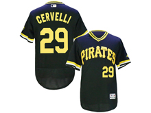 Mens Majestic Pittsburgh Pirates #29 Francisco Cervelli Black Pullove Flex Base Jersey