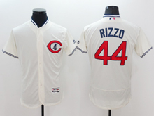 mens majestic chicago cubs #44 anthony rizzo cream white Flex Base jersey