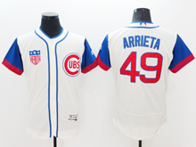 Mens Majestic Chicago Cubs #49 Jake Arrieta Cream Blue Flex Base Jersey