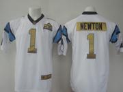 Mens   Nfl Carolina Panthers #1 Cam Newton White Super Bowl 50 Bound Game Jersey