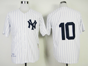 Mens Mlb New York Yankees #10 Rizzuto White Throwbacks Jersey
