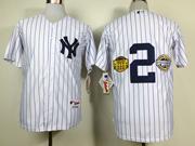 Mens Mlb New York Yankees #2 Derek Jeter White Wcommemorative Final Season&inaugural Season& Retirement Patch Jersey