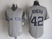Mens Majestic New York Yankees #42 Mariano Rivera Gray Cool Base Jersey