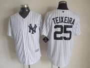 Mens Majestic New York Yankees #25 Mark Teixeira White Cool Base Jersey
