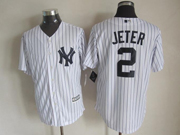 Mens Majestic New York Yankees #2 Derek Jeter White Cool Base Jersey
