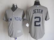 Mens Majestic New York Yankees #2 Derek Jeter Gray Cool Base Jersey
