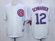 Mens Mlb Chicago Cubs #12 Schwarber White(blue Stripe) Jersey