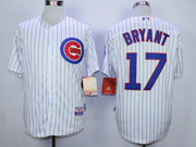 Mens Mlb Chicago Cubs #17 Bryant White(blue Stripe) Cool Base Jersey