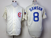 Mens Mlb Chicago Cubs #8 Dawson 1969 Turn Back The Clock Cream Blue Stripe Jersey
