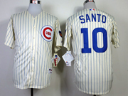 Mens Mlb Chicago Cubs #10 Santo 1969 Turn Back The Clock Cream Blue Stripe Jersey