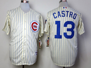 Mens Mlb Chicago Cubs #13 Castro 1969 Turn Back The Clock Cream Blue Stripe Jersey