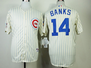 Mens Mlb Chicago Cubs #14 Banks 1969 Turn Back The Clock Cream Blue Stripe Jersey