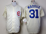 Mens Mlb Chicago Cubs #31 Maddux 1969 Turn Back The Clock Cream Blue Stripe Jersey