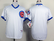 Mens Mlb Chicago Cubs (blank) 1988 Turn Back The Clock White Jersey(blue Stripe No Name)