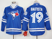 Mens Mlb Toronto Blue Jays #19 Jose Bautista Blue Long Sleeve Jersey