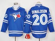 Mens Mlb Toronto Blue Jays #20 Josh Donaldson Blue Long Sleeve Jersey