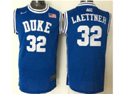 Mens Ncaa Nba Duke Blue Devils #32 Christian Laettner Blue (round Neck) Jersey