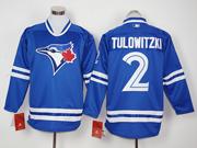 Mens Mlb Toronto Blue Jays #2 Troy Tulowitzki Blue Long Sleeve Jersey