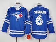 Mens Mlb Toronto Blue Jays #6 Marcus Stroman Blue Long Sleeve Jersey