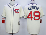 Mens Mlb Chicago Cubs #49 Jake Arrieta Cream 1829 Throwbacks Jersey