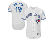 mens majestic toronto blue jays #19 jose bautista white Flex Base jersey