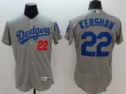mens majestic los angeles dodgers #22 clayton kershaw gray Flex Base jersey