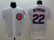 mens majestic chicago cubs #22 jason heyward white stripe Flex Base jersey