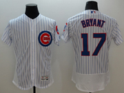mens majestic chicago cubs #17 kris bryant white stripe Flex Base jersey