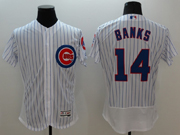 mens majestic chicago cubs #14 banks white stripe Flex Base jersey