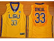 Mens Ncaa Nba Lsu Tigers #33 Shaquille O'neal Gold Basketball Elite Jersey