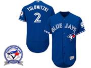 mens majestic toronto blue jays #2 troy tulowitzki blue 40th anniversary Flex Base jersey