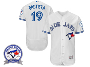 mens majestic toronto blue jays #19 jose bautista white 40th anniversary Flex Base jersey