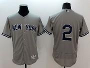 mens majestic new york yankees #2 derek jeter gray Flex Base jersey